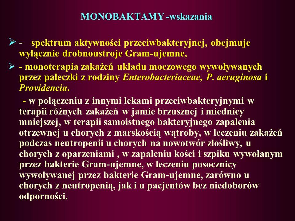 MONOBAKTAMY AZTREONAM, KARUMONAM, TIGEMONAM tylko pierścień B-laktamowy spektrum: tlenowe Gram(-): Ziarenkowe (Neisseria) pałeczki (Enterobacteracae,