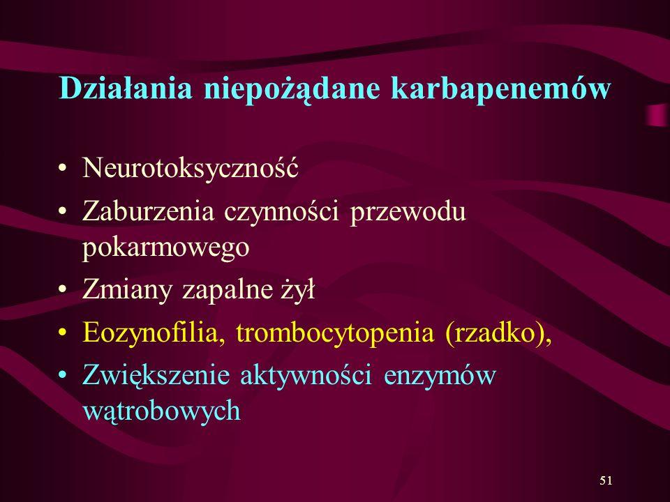 Karbapenemy - wskazania przeznaczone do stosowania ogólnego najszerszym zakresie aktywności przeciwbakteryjnej. skuteczne w leczeniu różnych poważnych