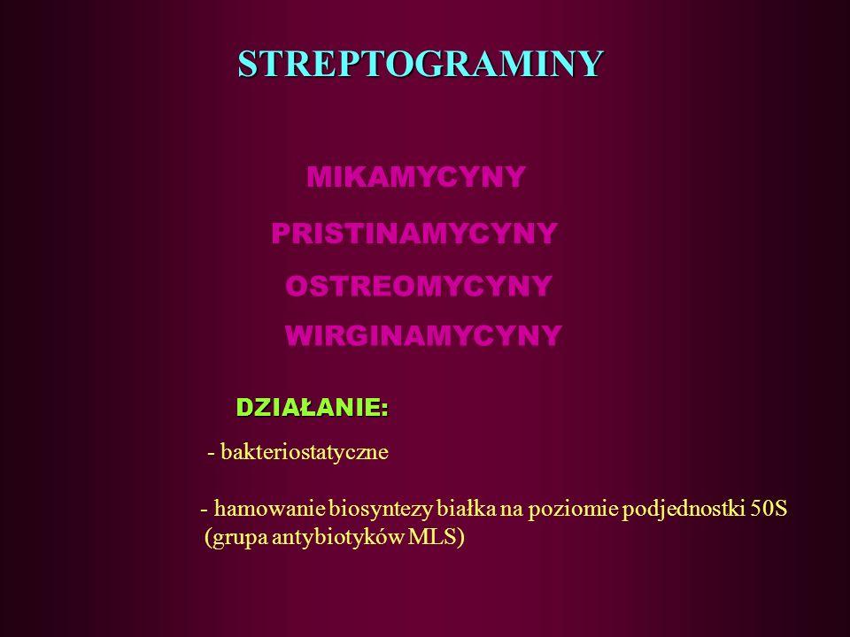 76 Linkozamidy –działania niepożądane zaburzenia fizjologicznej flory jelitowej (przerost Clostridium difficile)
