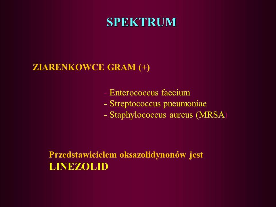 OKSAZOLIDYNONY nowa klasa związków syntetycznych działanie bakteriostatyczne miejscem docelowym są obydwie podjednostki rybosomu DNA mechanizm działan