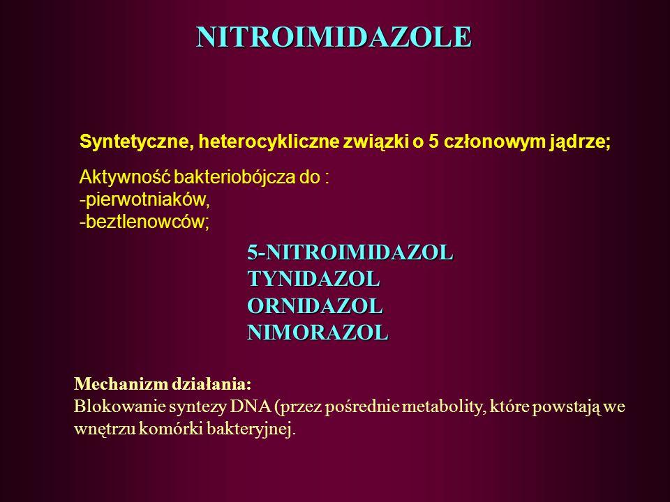 84 ANTYBIOTYKI GLIKOPEPTYDOWE- działania niepożądane Nefrotoksyczność Ototoksyczność Zaczerwienienie twarzy (gwałtowne uwalnianie histaminy)