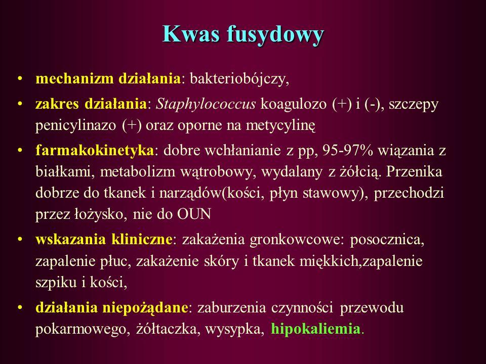 Polimiksyny- Colistin mechanizm działania: bakteriobójczy zakres działania: bakterie Gram (-): E.coli, Klebsiella pneumoniae, Enterobacter spp., P.aer