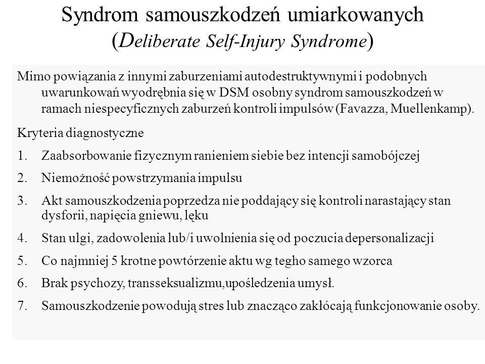 Czynniki ryzyka i inne uwarunkowania 1.Samotność i izolacja (Harlow: Izolowane od matek małpy stawały się autoagresywne), 2.Czynniki biochemiczne: (narkotyzująca rola endorfin) 3.Historia rodziny.