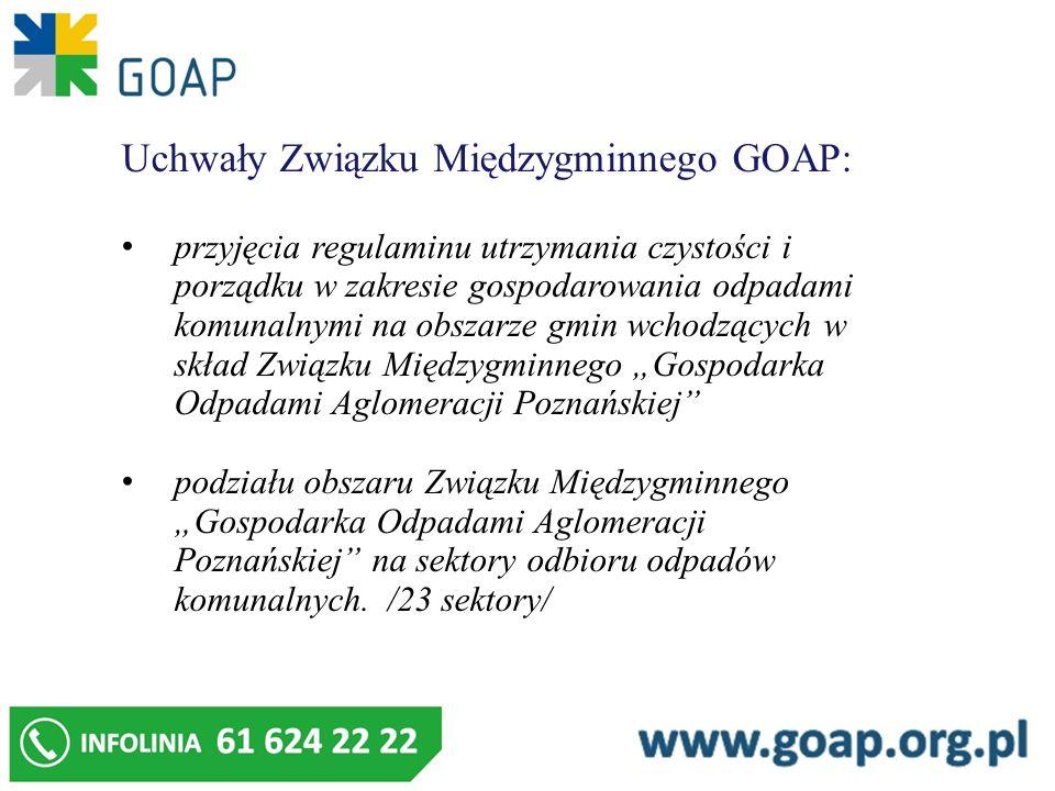 Uchwały Związku Międzygminnego GOAP: przyjęcia regulaminu utrzymania czystości i porządku w zakresie gospodarowania odpadami komunalnymi na obszarze g
