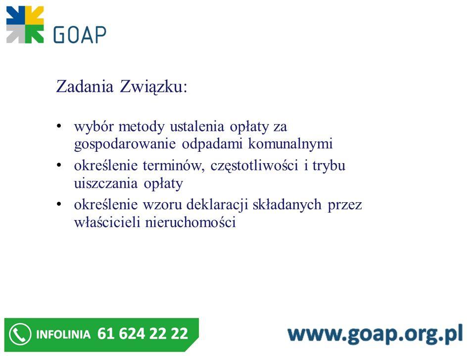 Zadania Związku: wybór metody ustalenia opłaty za gospodarowanie odpadami komunalnymi określenie terminów, częstotliwości i trybu uiszczania opłaty ok