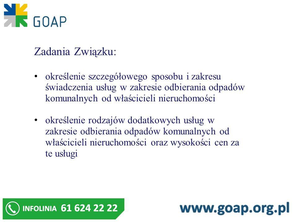 Zadania Związku: określenie szczegółowego sposobu i zakresu świadczenia usług w zakresie odbierania odpadów komunalnych od właścicieli nieruchomości o