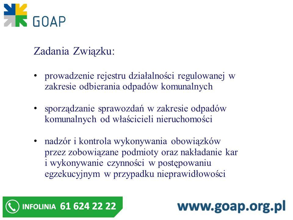 Zadania Związku: prowadzenie rejestru działalności regulowanej w zakresie odbierania odpadów komunalnych sporządzanie sprawozdań w zakresie odpadów ko