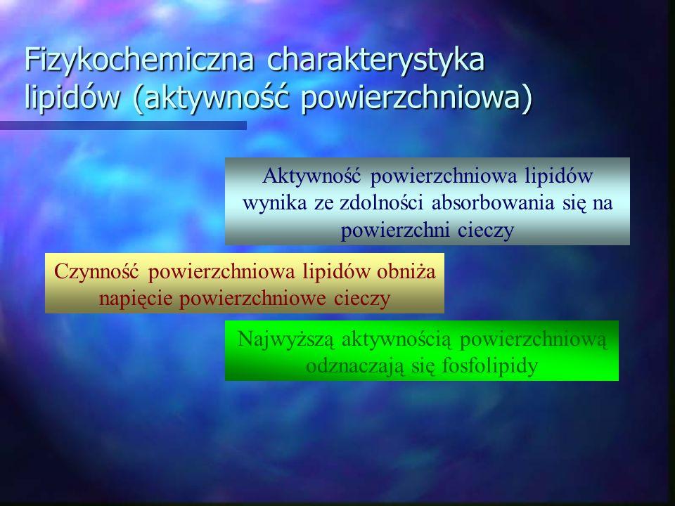 Fizykochemiczna charakterystyka lipidów (aktywność powierzchniowa) Aktywność powierzchniowa lipidów wynika ze zdolności absorbowania się na powierzchn