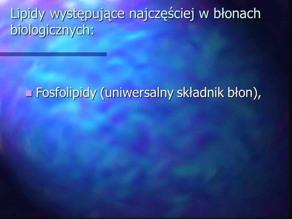 Lipidy występujące najczęściej w błonach biologicznych: Fosfolipidy (uniwersalny składnik błon), Fosfolipidy (uniwersalny składnik błon),