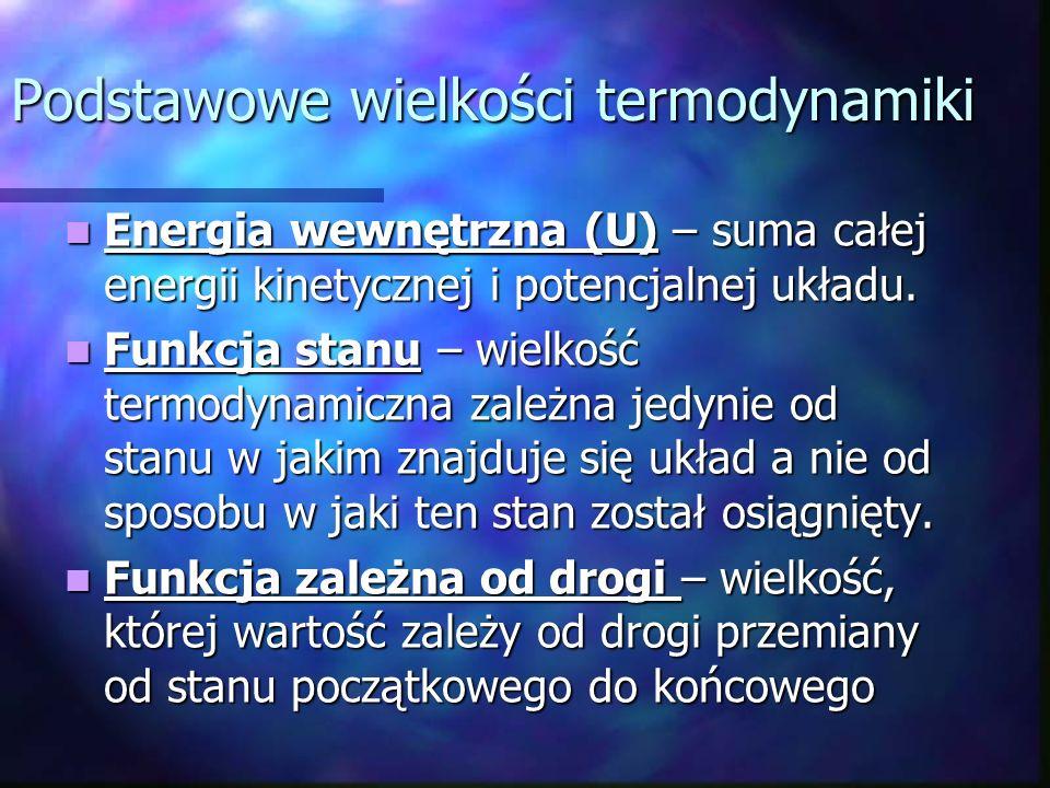 Podstawowe wielkości termodynamiki Energia wewnętrzna (U) – suma całej energii kinetycznej i potencjalnej układu. Energia wewnętrzna (U) – suma całej