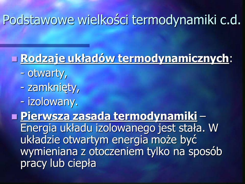 Rodzaje układów termodynamicznych: Rodzaje układów termodynamicznych: - otwarty, - zamknięty, - izolowany. Pierwsza zasada termodynamiki – Energia ukł