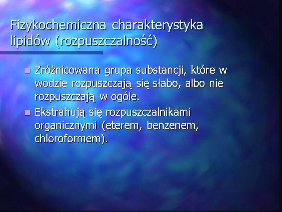 Fizykochemiczna charakterystyka lipidów (rozpuszczalność) Zróżnicowana grupa substancji, które w wodzie rozpuszczają się słabo, albo nie rozpuszczają