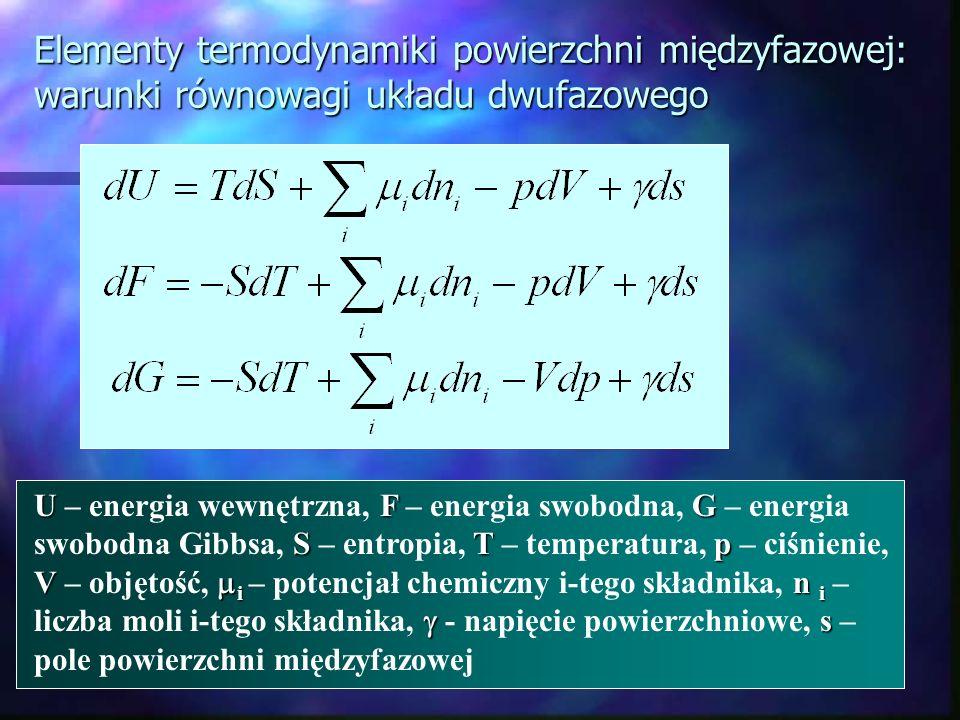 Elementy termodynamiki powierzchni międzyfazowej: warunki równowagi układu dwufazowego UFG STp V i n i s U – energia wewnętrzna, F – energia swobodna,