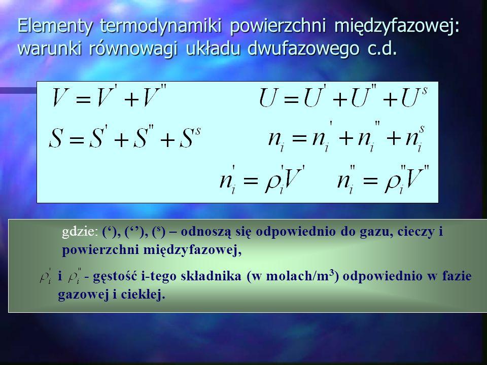 gdzie: (), (), ( s ) – odnoszą się odpowiednio do gazu, cieczy i powierzchni międzyfazowej, i - gęstość i-tego składnika (w molach/m 3 ) odpowiednio w