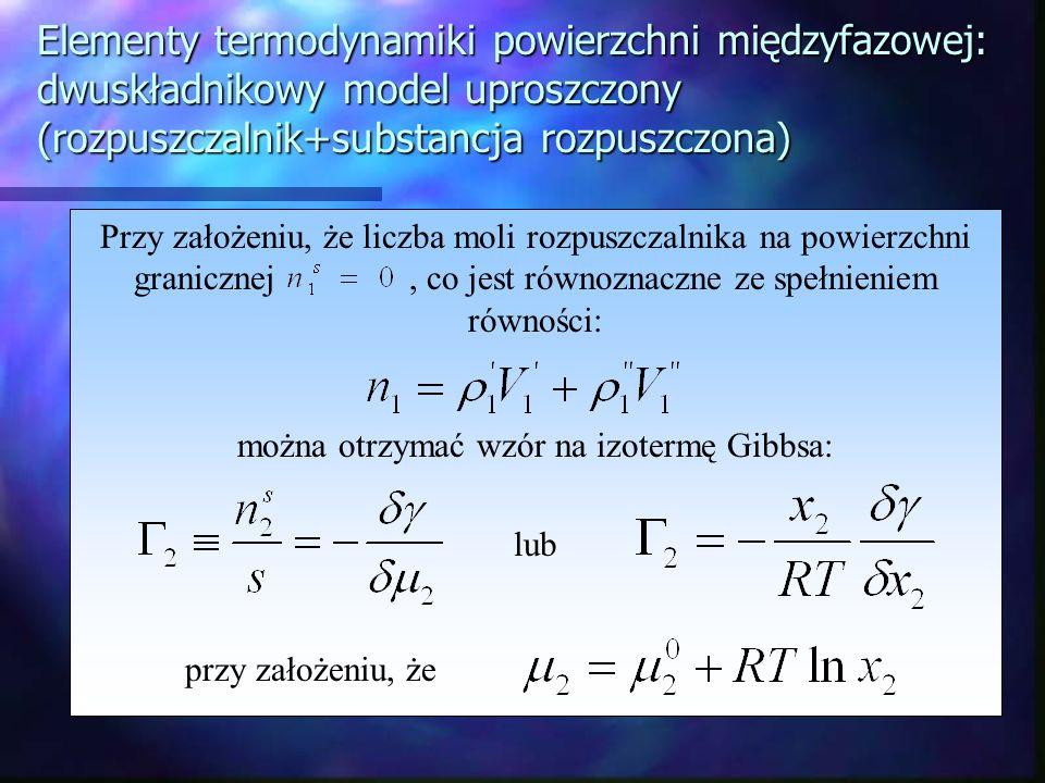 Elementy termodynamiki powierzchni międzyfazowej: dwuskładnikowy model uproszczony (rozpuszczalnik+substancja rozpuszczona) Przy założeniu, że liczba