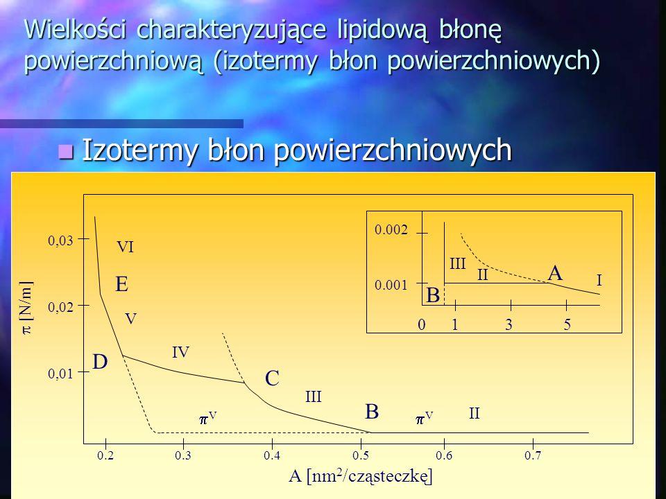 Izotermy błon powierzchniowych Izotermy błon powierzchniowych Wielkości charakteryzujące lipidową błonę powierzchniową (izotermy błon powierzchniowych