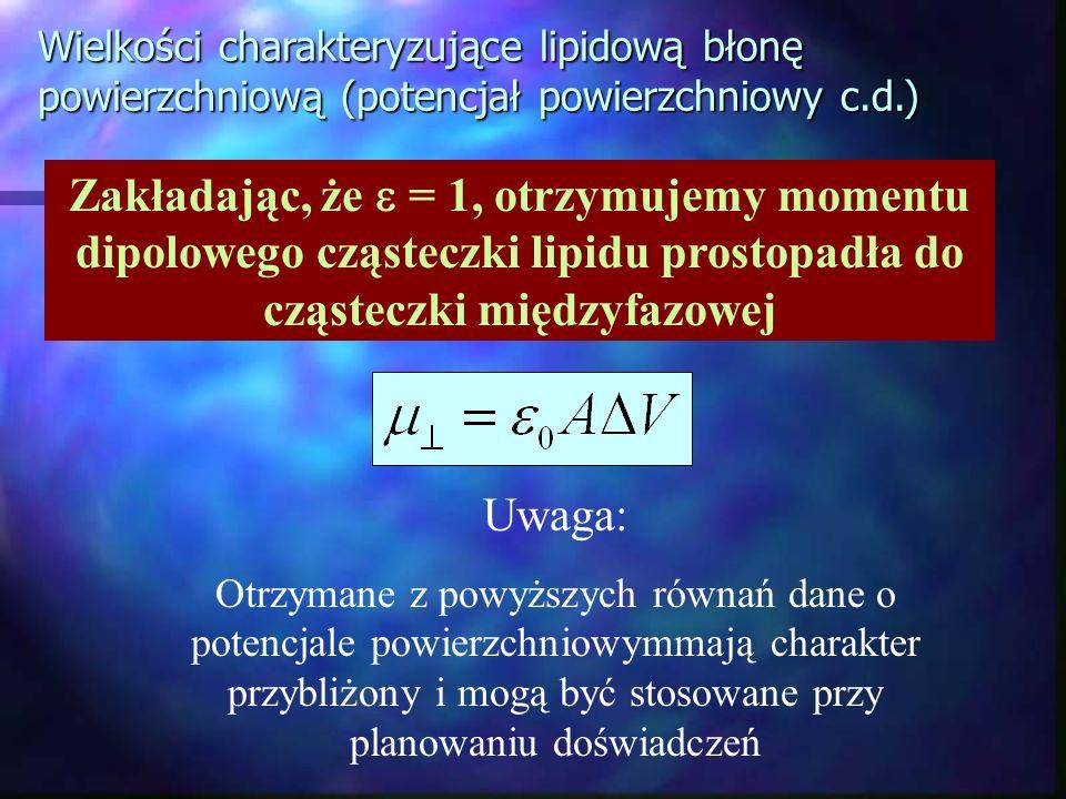 Wielkości charakteryzujące lipidową błonę powierzchniową (potencjał powierzchniowy c.d.) Zakładając, że = 1, otrzymujemy momentu dipolowego cząsteczki