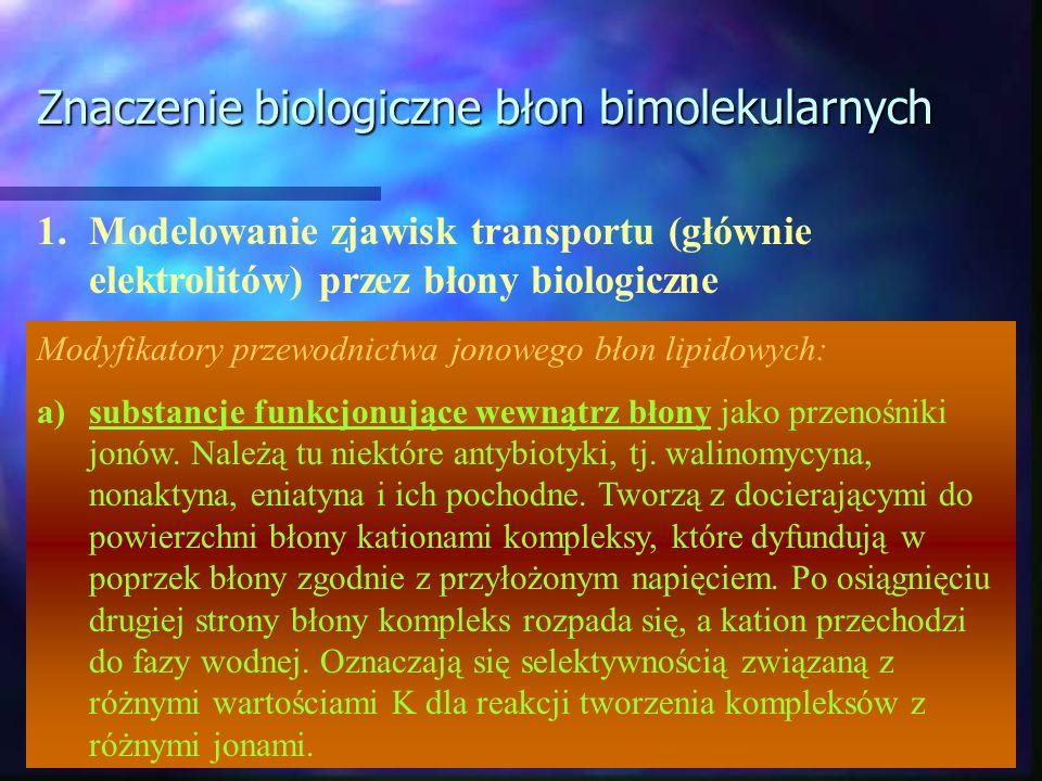 Znaczenie biologiczne błon bimolekularnych 1.Modelowanie zjawisk transportu (głównie elektrolitów) przez błony biologiczne Modyfikatory przewodnictwa