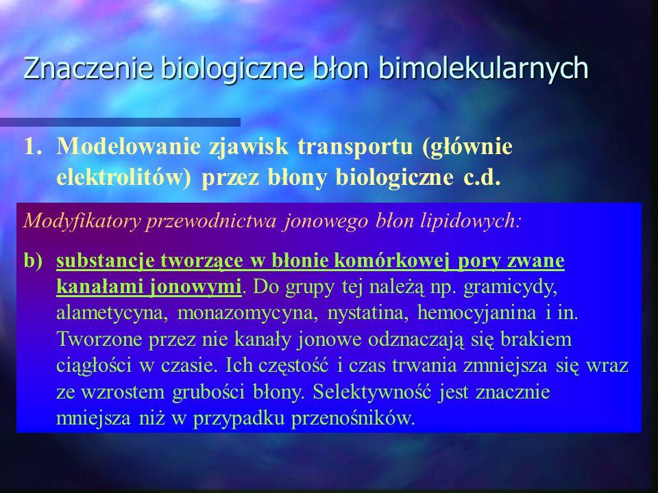 Znaczenie biologiczne błon bimolekularnych 1.Modelowanie zjawisk transportu (głównie elektrolitów) przez błony biologiczne c.d. Modyfikatory przewodni