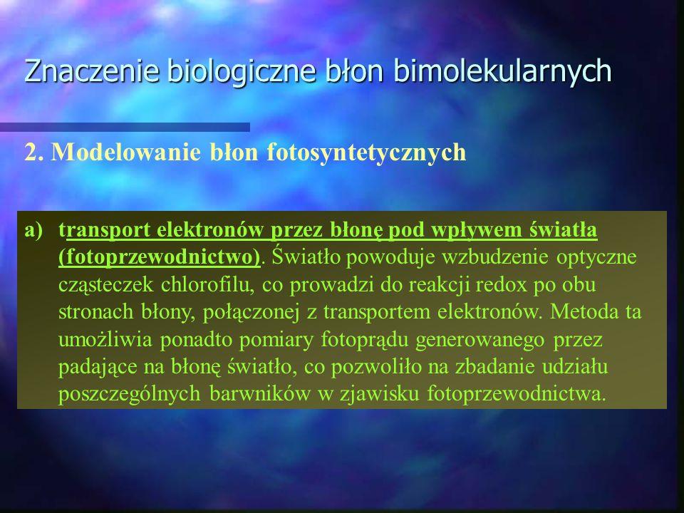 Znaczenie biologiczne błon bimolekularnych 2. Modelowanie błon fotosyntetycznych a) transport elektronów przez błonę pod wpływem światła (fotoprzewodn