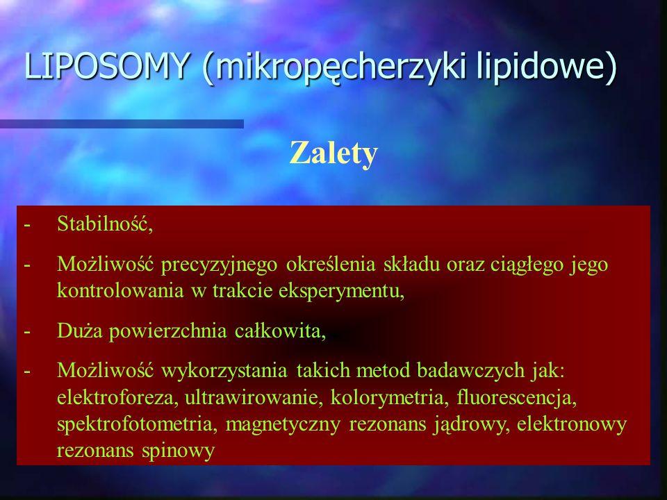 LIPOSOMY (mikropęcherzyki lipidowe) Zalety -Stabilność, -Możliwość precyzyjnego określenia składu oraz ciągłego jego kontrolowania w trakcie eksperyme
