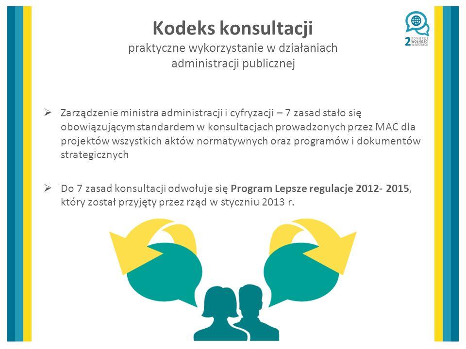 Kodeks konsultacji praktyczne wykorzystanie w działaniach administracji publicznej Zarządzenie ministra administracji i cyfryzacji – 7 zasad stało się