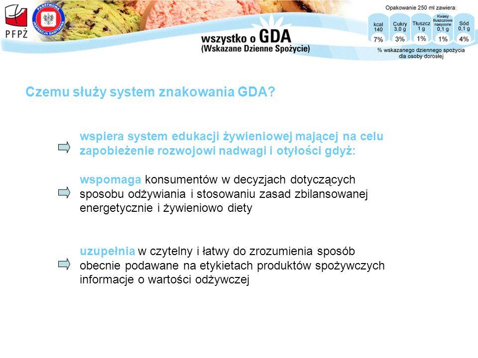 wspiera system edukacji żywieniowej mającej na celu zapobieżenie rozwojowi nadwagi i otyłości gdyż: wspomaga konsumentów w decyzjach dotyczących sposo