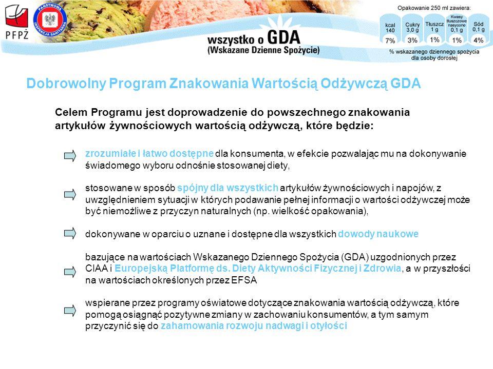 Celem Programu jest doprowadzenie do powszechnego znakowania artykułów żywnościowych wartością odżywczą, które będzie: Dobrowolny Program Znakowania W