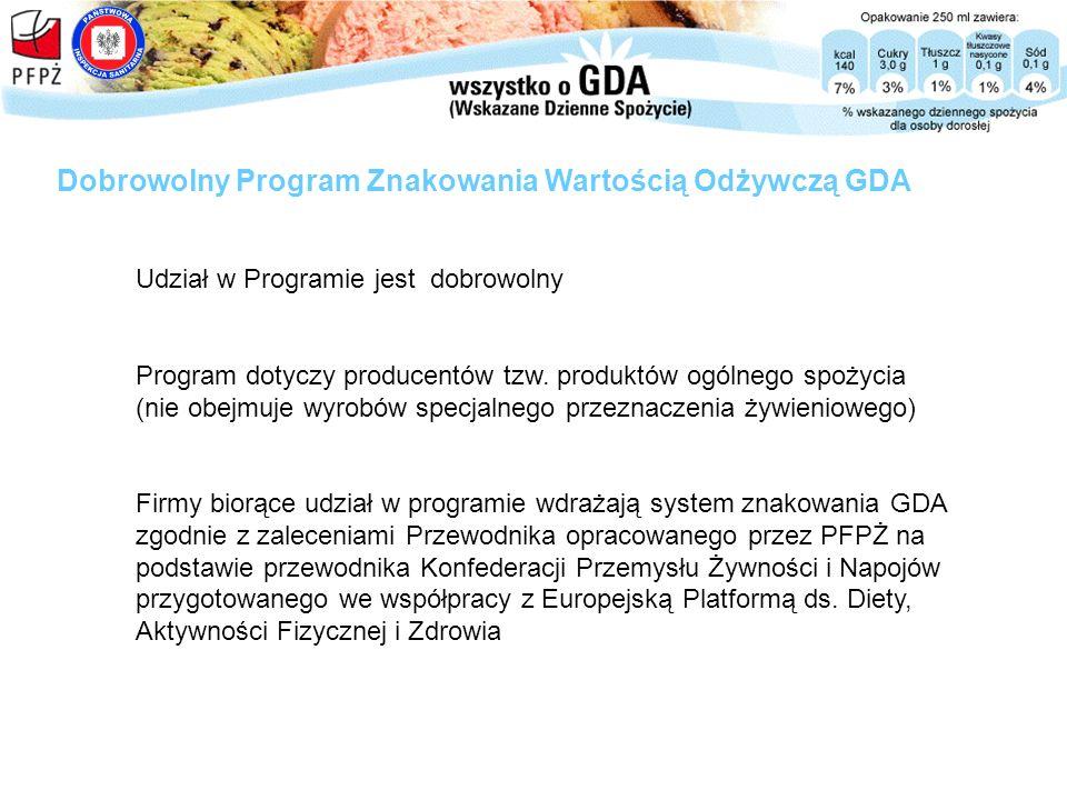 Udział w Programie jest dobrowolny Program dotyczy producentów tzw. produktów ogólnego spożycia (nie obejmuje wyrobów specjalnego przeznaczenia żywien