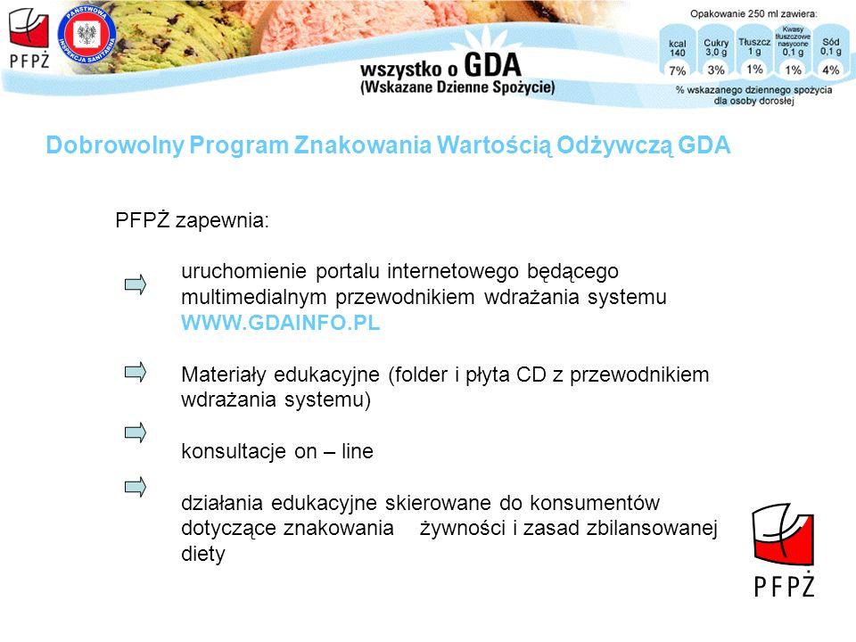 PFPŻ zapewnia: Dobrowolny Program Znakowania Wartością Odżywczą GDA uruchomienie portalu internetowego będącego multimedialnym przewodnikiem wdrażania