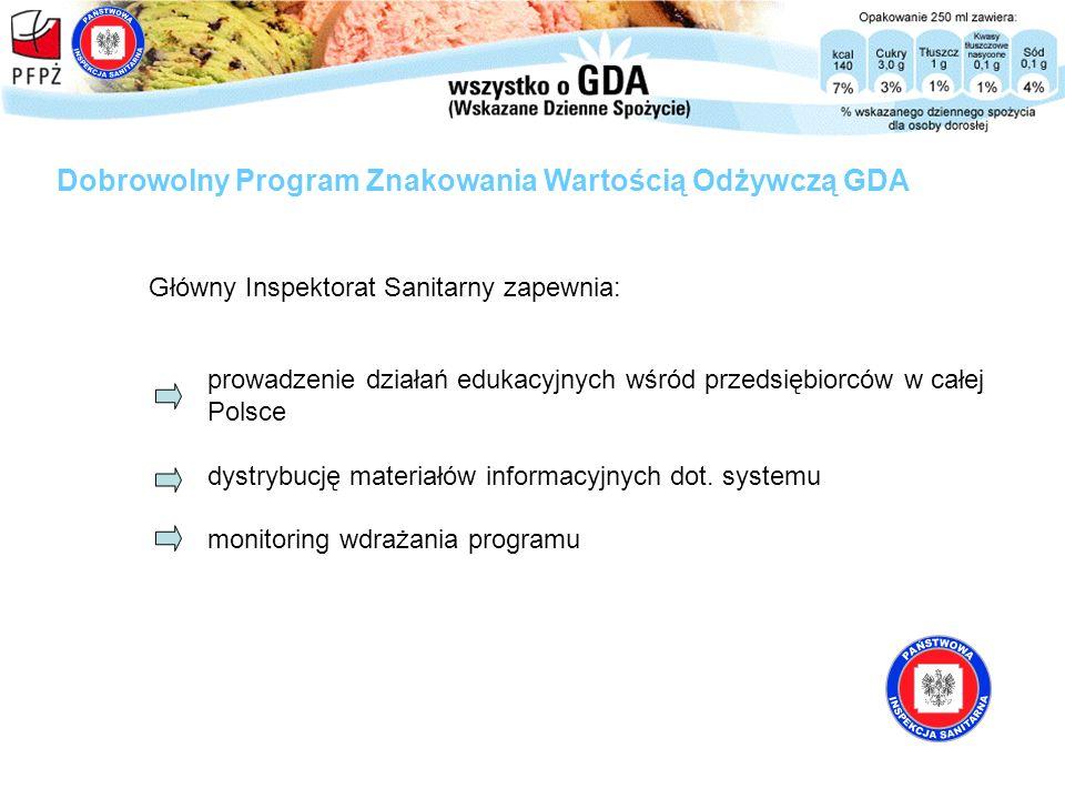 Dobrowolny Program Znakowania Wartością Odżywczą GDA Główny Inspektorat Sanitarny zapewnia: prowadzenie działań edukacyjnych wśród przedsiębiorców w c