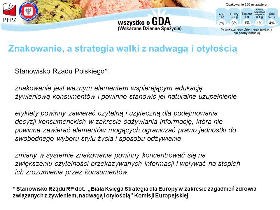 Stanowisko Rządu Polskiego*: znakowanie jest ważnym elementem wspierającym edukację żywieniową konsumentów i powinno stanowić jej naturalne uzupełnien