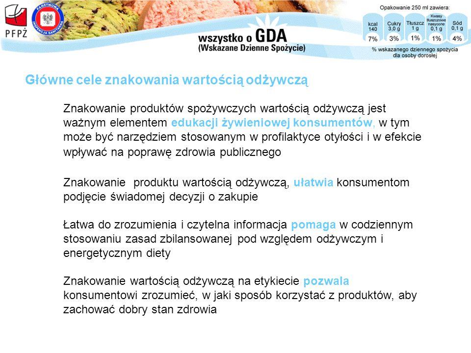 Celem Programu jest doprowadzenie do powszechnego znakowania artykułów żywnościowych wartością odżywczą, które będzie: Dobrowolny Program Znakowania Wartością Odżywczą GDA zrozumiałe i łatwo dostępne dla konsumenta, w efekcie pozwalając mu na dokonywanie świadomego wyboru odnośnie stosowanej diety, stosowane w sposób spójny dla wszystkich artykułów żywnościowych i napojów, z uwzględnieniem sytuacji w których podawanie pełnej informacji o wartości odżywczej może być niemożliwe z przyczyn naturalnych (np.