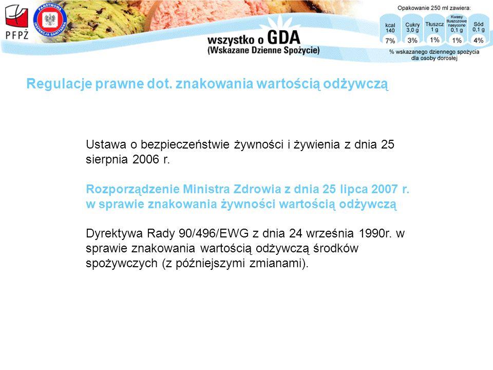 Ustawa o bezpieczeństwie żywności i żywienia z dnia 25 sierpnia 2006 r. Rozporządzenie Ministra Zdrowia z dnia 25 lipca 2007 r. w sprawie znakowania ż