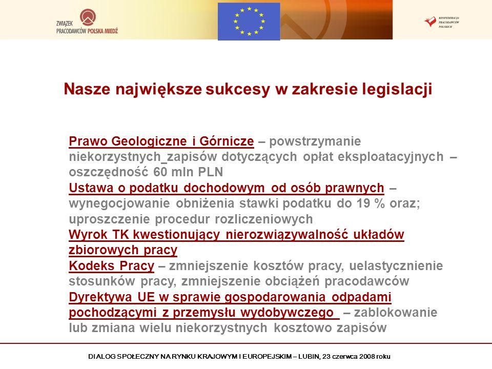 DIALOG SPOŁECZNY NA RYNKU KRAJOWYM I EUROPEJSKIM – LUBIN, 23 czerwca 2008 roku Nasze największe sukcesy w zakresie legislacji Prawo Geologiczne i Górn