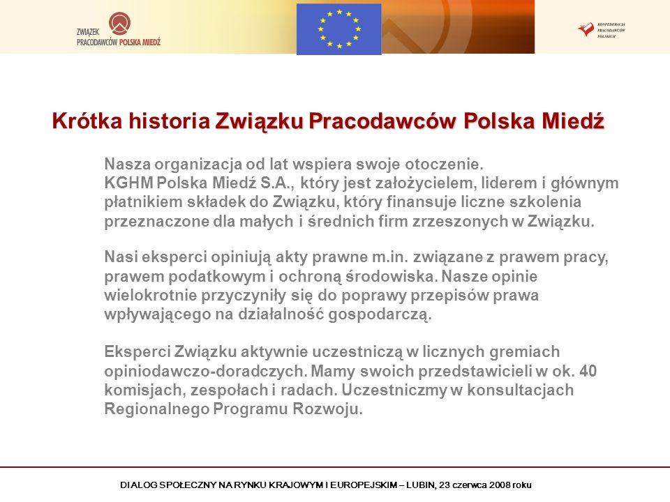 DIALOG SPOŁECZNY NA RYNKU KRAJOWYM I EUROPEJSKIM – LUBIN, 23 czerwca 2008 roku Związku Pracodawców Polska Miedź Krótka historia Związku Pracodawców Po