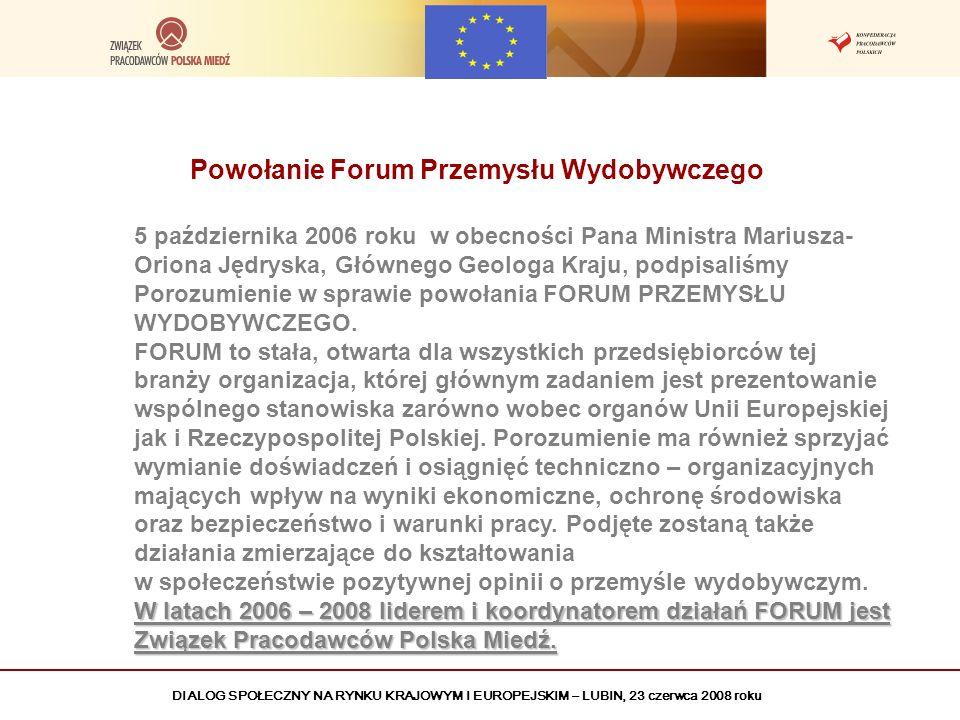 DIALOG SPOŁECZNY NA RYNKU KRAJOWYM I EUROPEJSKIM – LUBIN, 23 czerwca 2008 roku Powołanie Forum Przemysłu Wydobywczego 5 października 2006 roku w obecn