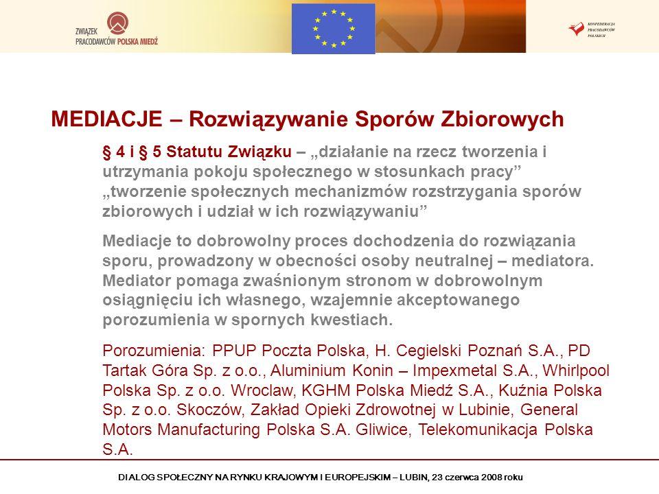 DIALOG SPOŁECZNY NA RYNKU KRAJOWYM I EUROPEJSKIM – LUBIN, 23 czerwca 2008 roku MEDIACJE – Rozwiązywanie Sporów Zbiorowych § 4 i § 5 Statutu Związku –