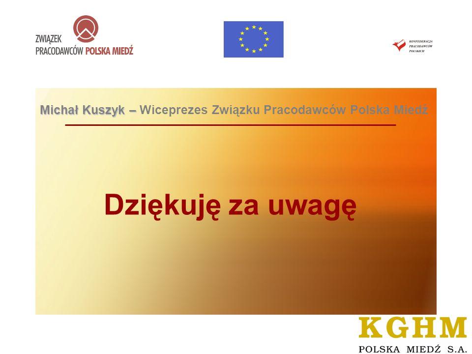 DIALOG SPOŁECZNY NA RYNKU KRAJOWYM I EUROPEJSKIM – LUBIN, 23 czerwca 2008 roku Dziękuję za uwagę Michał Kuszyk – Michał Kuszyk – Wiceprezes Związku Pr