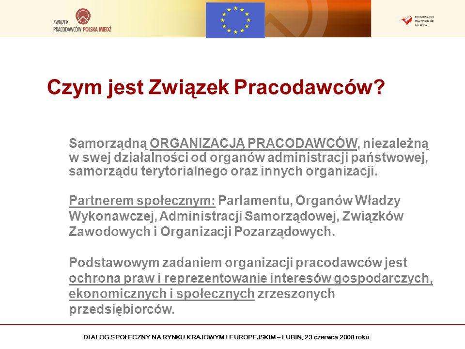 DIALOG SPOŁECZNY NA RYNKU KRAJOWYM I EUROPEJSKIM – LUBIN, 23 czerwca 2008 roku Czym jest Związek Pracodawców? Samorządną ORGANIZACJĄ PRACODAWCÓW, niez