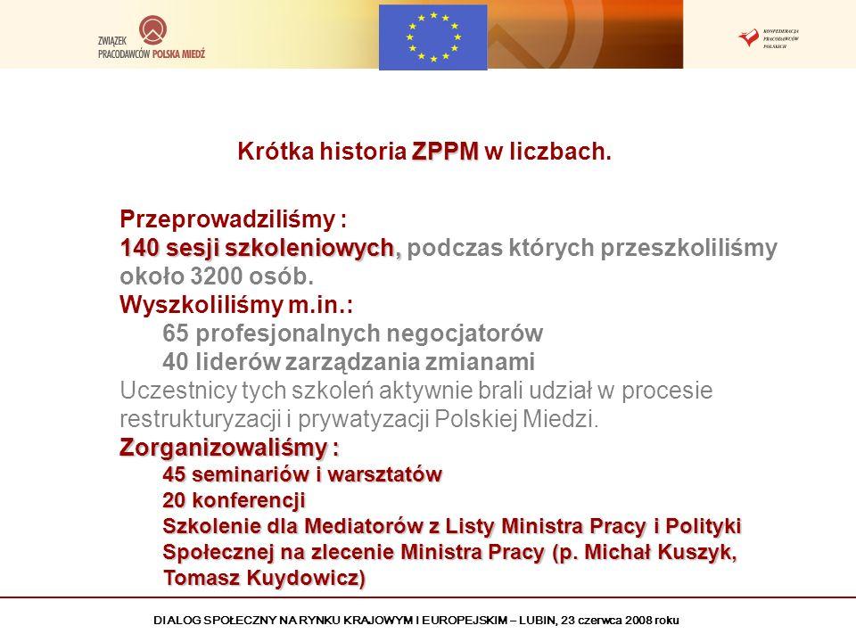 DIALOG SPOŁECZNY NA RYNKU KRAJOWYM I EUROPEJSKIM – LUBIN, 23 czerwca 2008 roku ZPPM Krótka historia ZPPM w liczbach. Przeprowadziliśmy : 140 sesji szk