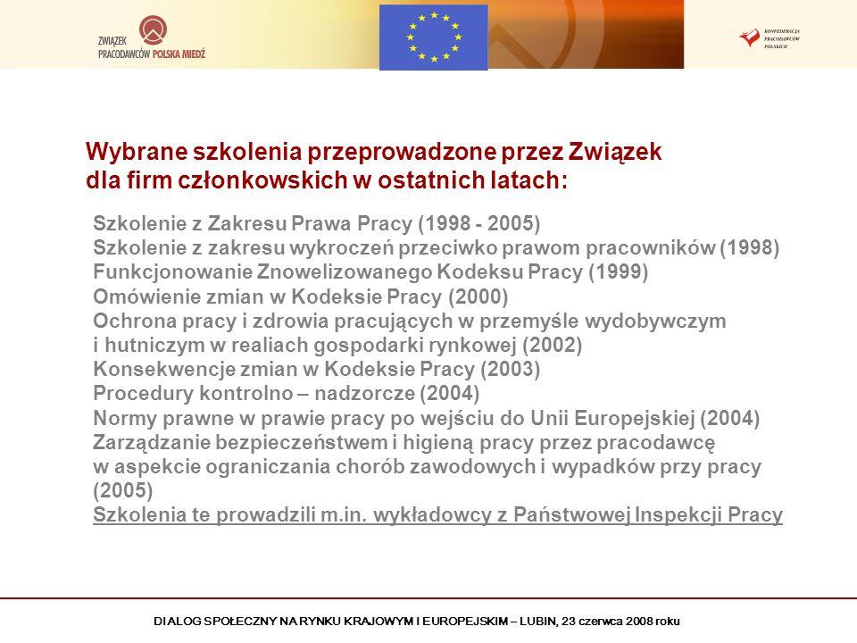 DIALOG SPOŁECZNY NA RYNKU KRAJOWYM I EUROPEJSKIM – LUBIN, 23 czerwca 2008 roku Wybrane szkolenia przeprowadzone przez Związek dla firm członkowskich w