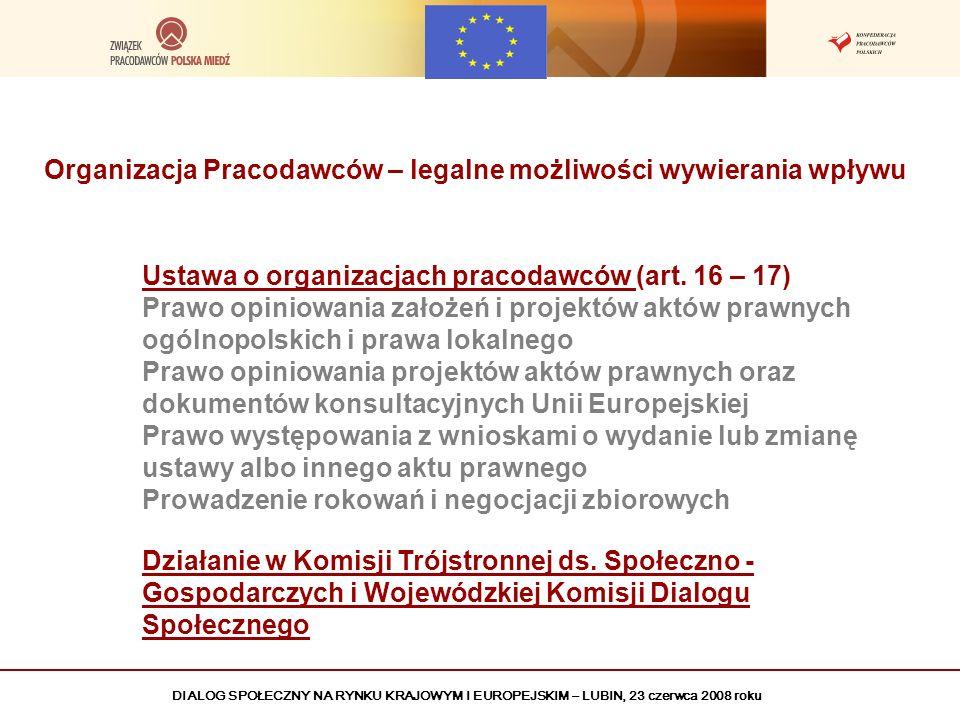 DIALOG SPOŁECZNY NA RYNKU KRAJOWYM I EUROPEJSKIM – LUBIN, 23 czerwca 2008 roku Nasze największe sukcesy w zakresie legislacji Prawo Geologiczne i Górnicze – powstrzymanie niekorzystnych zapisów dotyczących opłat eksploatacyjnych – oszczędność 60 mln PLN Ustawa o podatku dochodowym od osób prawnych – wynegocjowanie obniżenia stawki podatku do 19 % oraz; uproszczenie procedur rozliczeniowych Wyrok TK kwestionujący nierozwiązywalność układów zbiorowych pracy Kodeks Pracy – zmniejszenie kosztów pracy, uelastycznienie stosunków pracy, zmniejszenie obciążeń pracodawców Dyrektywa UE w sprawie gospodarowania odpadami pochodzącymi z przemysłu wydobywczego – zablokowanie lub zmiana wielu niekorzystnych kosztowo zapisów