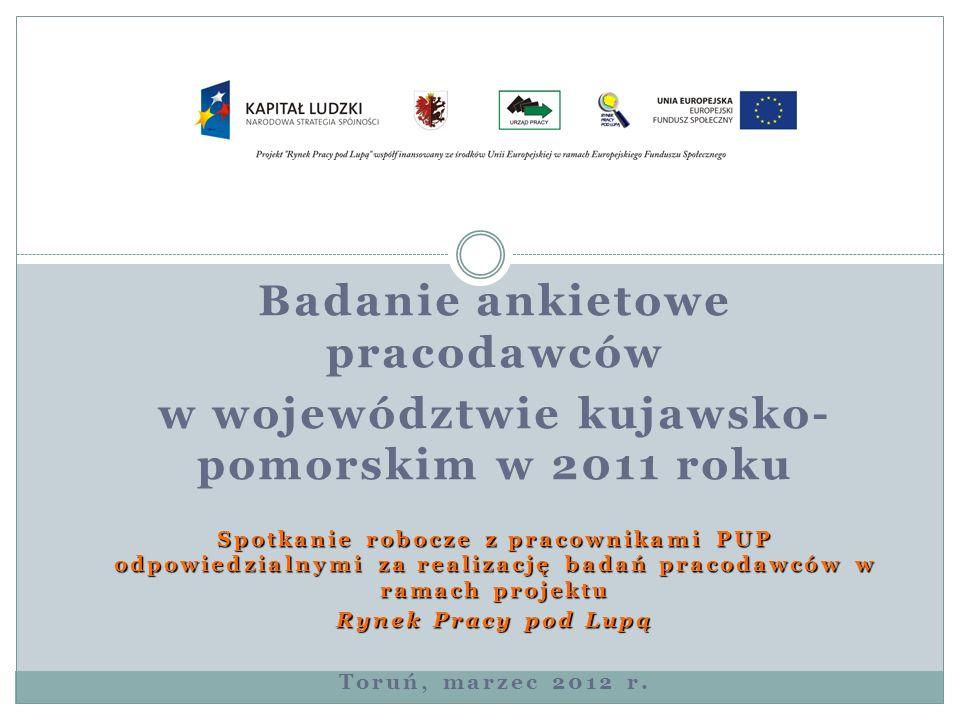 Badanie ankietowe pracodawców w województwie kujawsko- pomorskim w 2011 roku Spotkanie robocze z pracownikami PUP odpowiedzialnymi za realizację badań