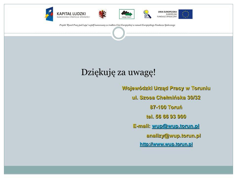 Dziękuję za uwagę! Wojewódzki Urząd Pracy w Toruniu ul. Szosa Chełmińska 30/32 87-100 Toruń tel. 56 66 93 900 E-mail: wup@wup.torun.pl wup@wup.torun.p
