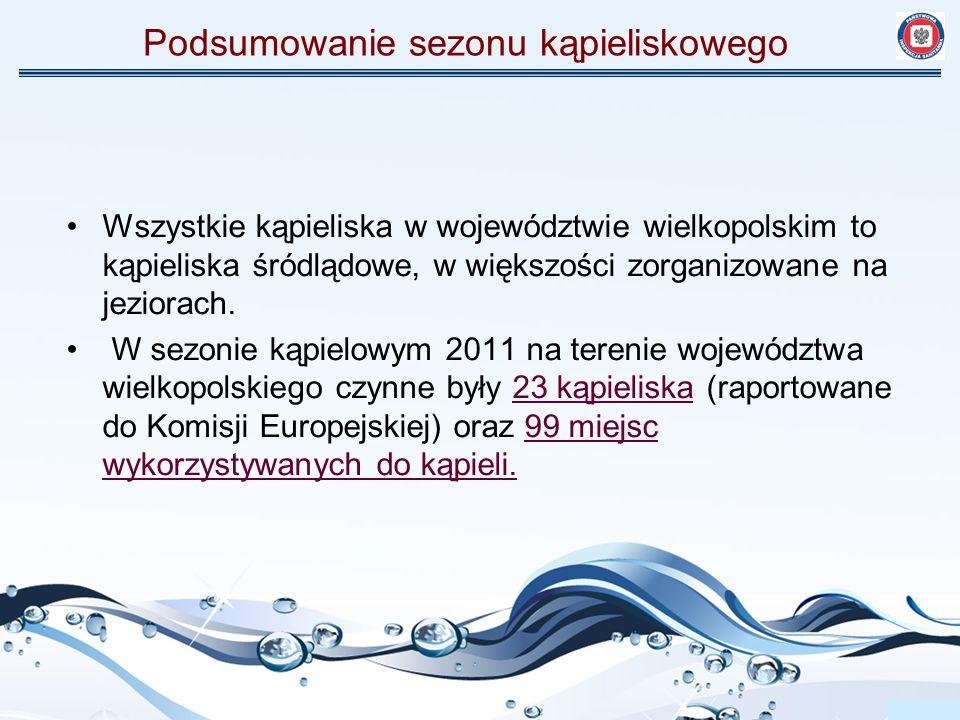 Wszystkie kąpieliska w województwie wielkopolskim to kąpieliska śródlądowe, w większości zorganizowane na jeziorach. W sezonie kąpielowym 2011 na tere