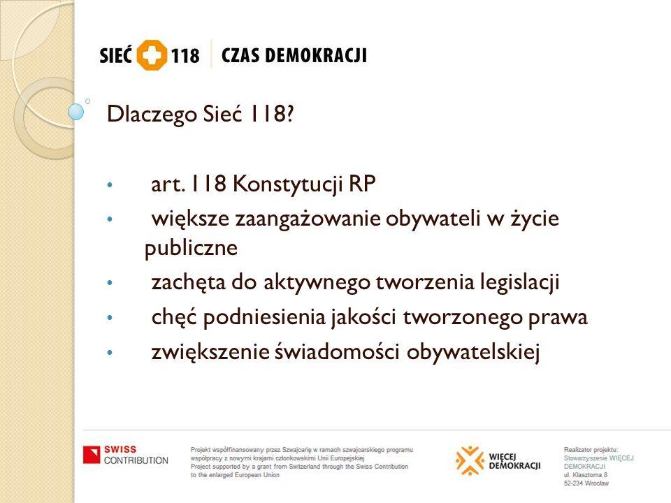 Dlaczego Sieć 118? art. 118 Konstytucji RP większe zaangażowanie obywateli w życie publiczne zachęta do aktywnego tworzenia legislacji chęć podniesien