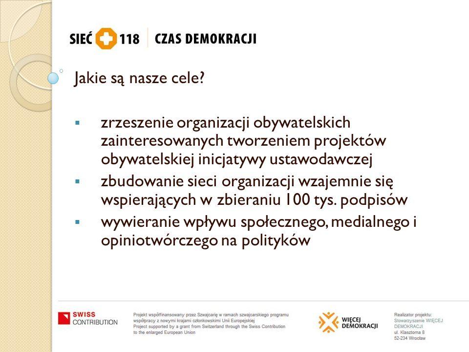 Jakie są nasze cele? zrzeszenie organizacji obywatelskich zainteresowanych tworzeniem projektów obywatelskiej inicjatywy ustawodawczej zbudowanie siec