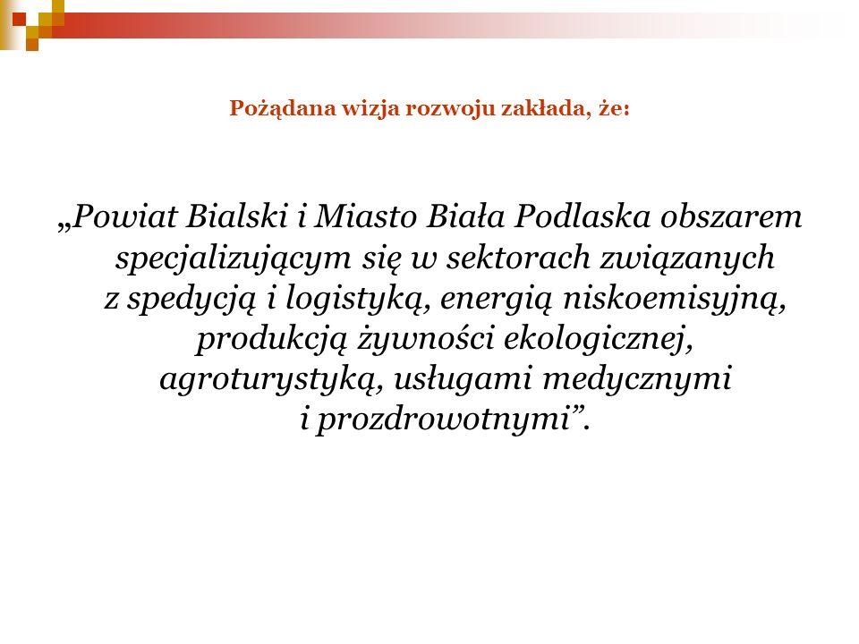 Pożądana wizja rozwoju zakłada, że: Powiat Bialski i Miasto Biała Podlaska obszarem specjalizującym się w sektorach związanych z spedycją i logistyką,