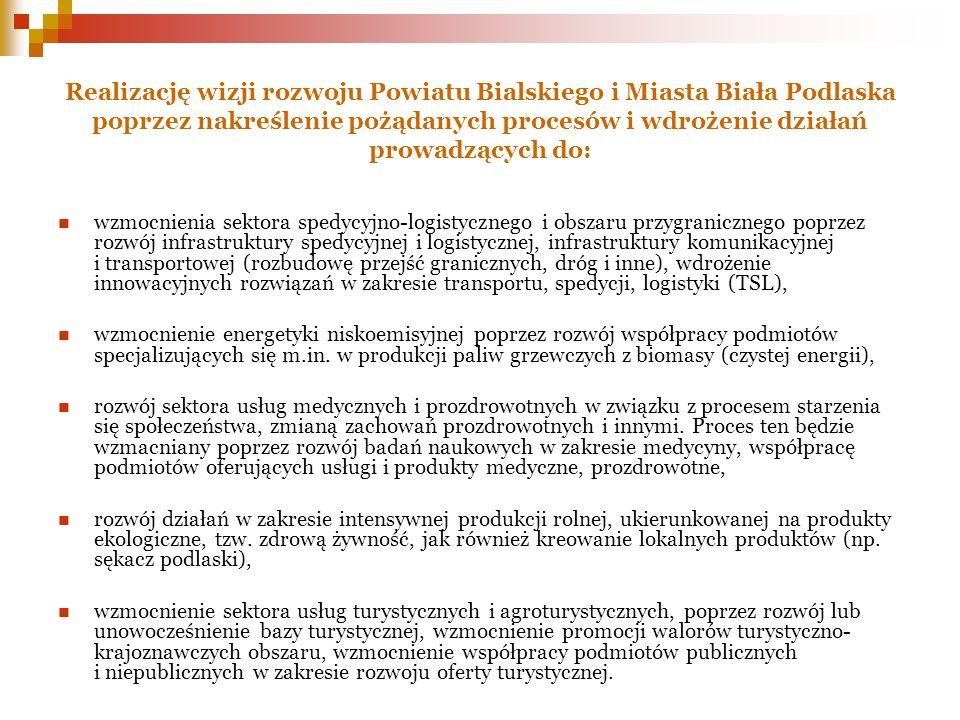 Realizację wizji rozwoju Powiatu Bialskiego i Miasta Biała Podlaska poprzez nakreślenie pożądanych procesów i wdrożenie działań prowadzących do: wzmoc